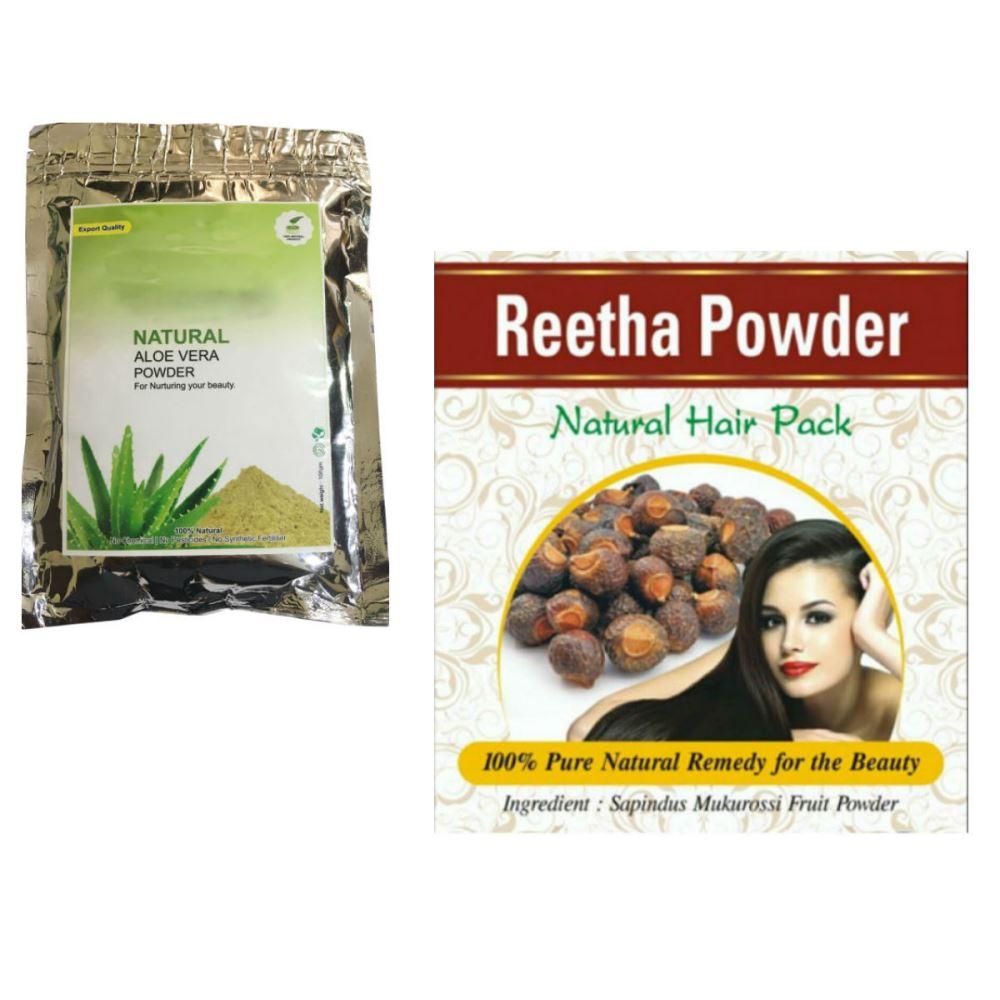 Indirang Aloe Vera Powder(100G) Powder & Reetha Powder(100G) Combo Pack (1Pack)