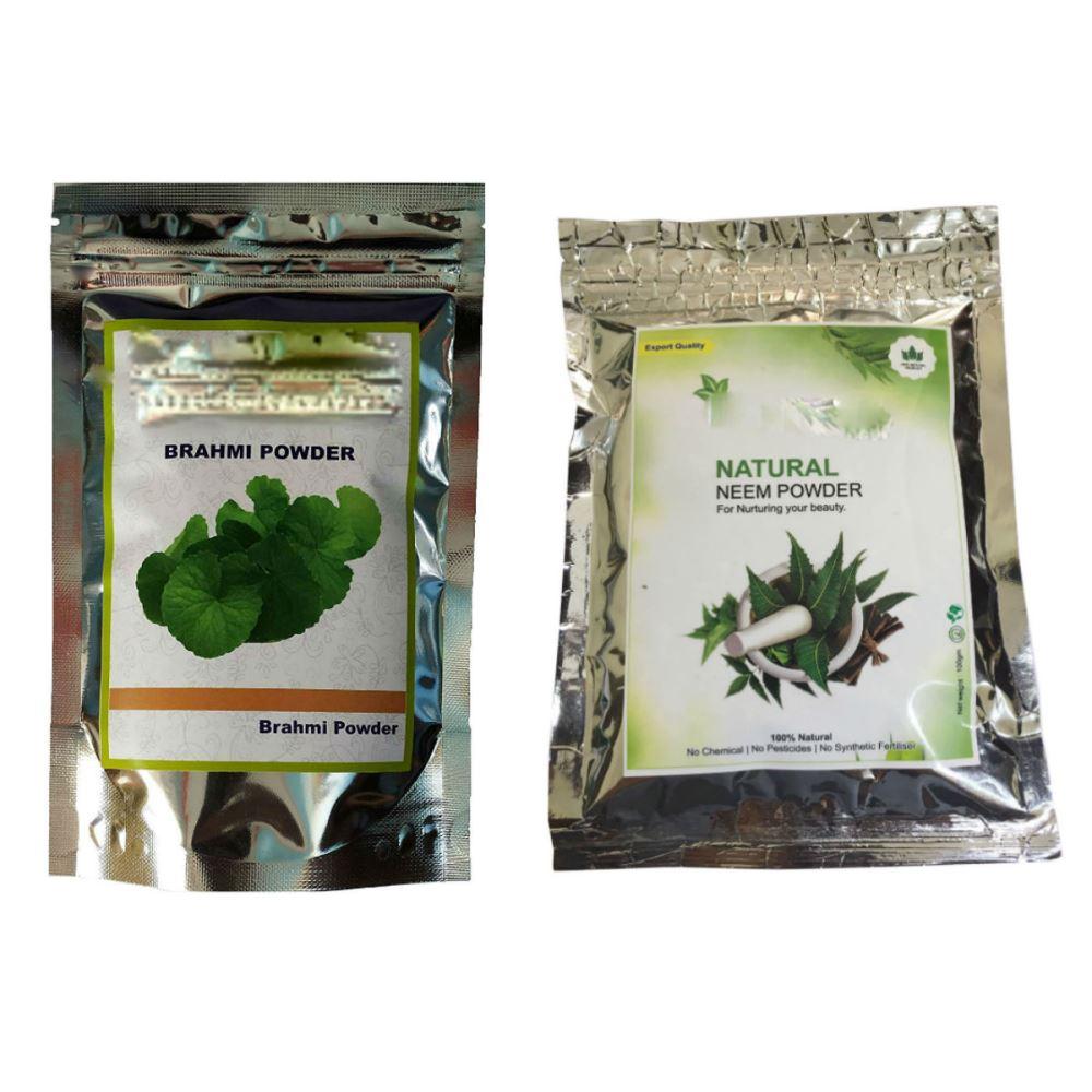 Indirang Brahmi Powder(100G) & Neem Powder(100G) Combo Pack (1Pack)