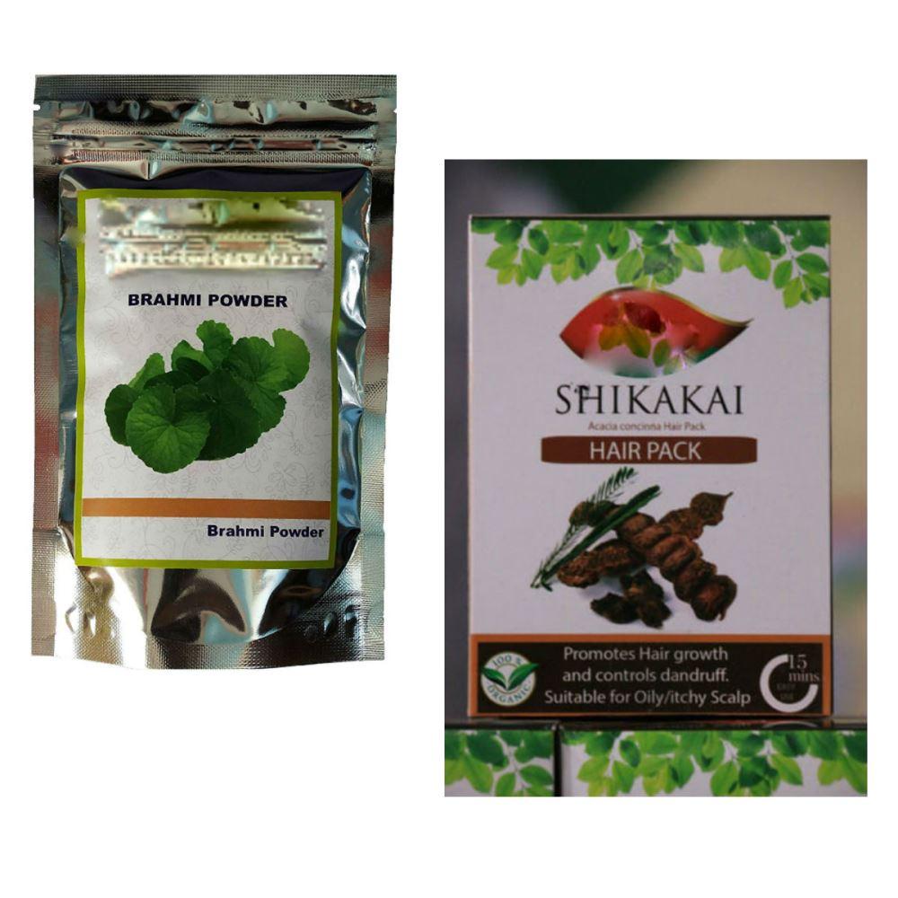 Indirang Brahmi Powder(100G) & Shikakai Powder(100G) Combo Pack (1Pack)