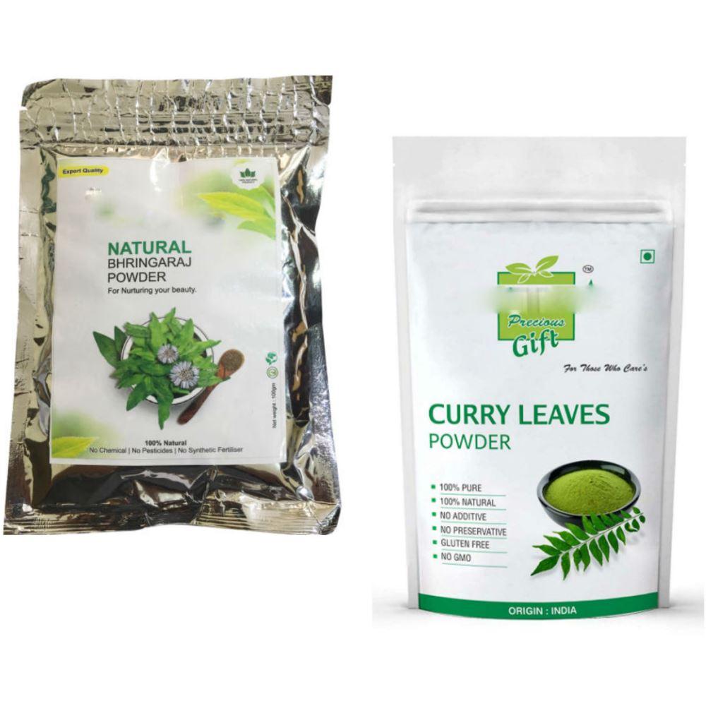 Indirang Bhringraj Powder(100G) & Curry Leaf Powder(100G) Combo Pack (1Pack)