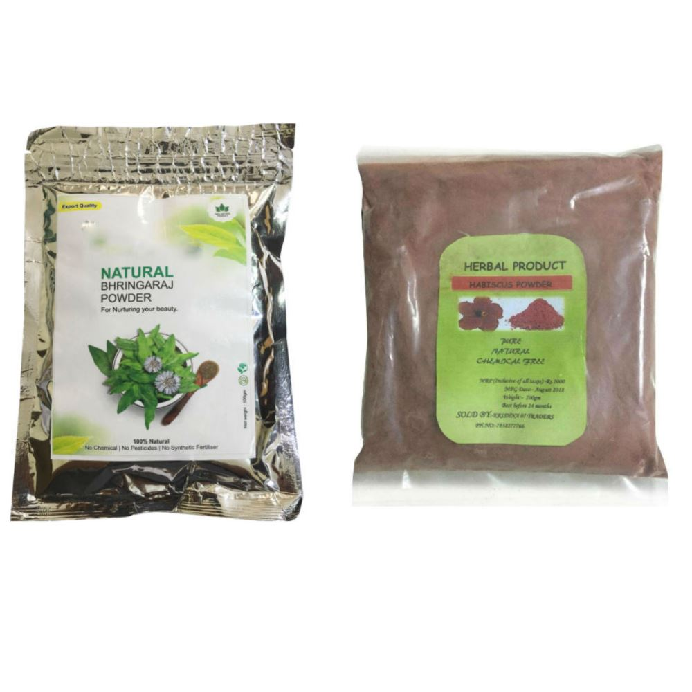 Indirang Bhringraj Powder(100G) & Hibiscus Powder(100G) Combo Pack (1Pack)