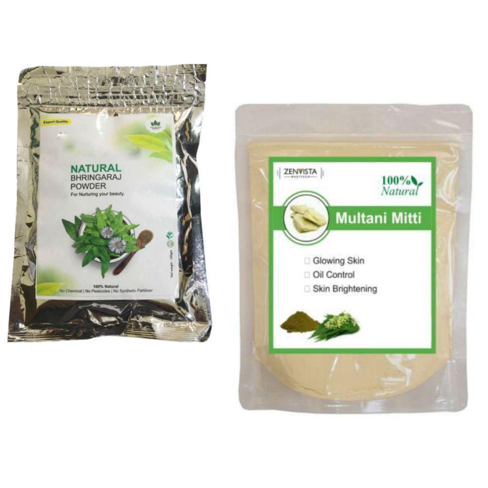 Indirang Bhringraj Powder(100G) & Multani Mitti Powder(100G) Combo Pack (1Pack)