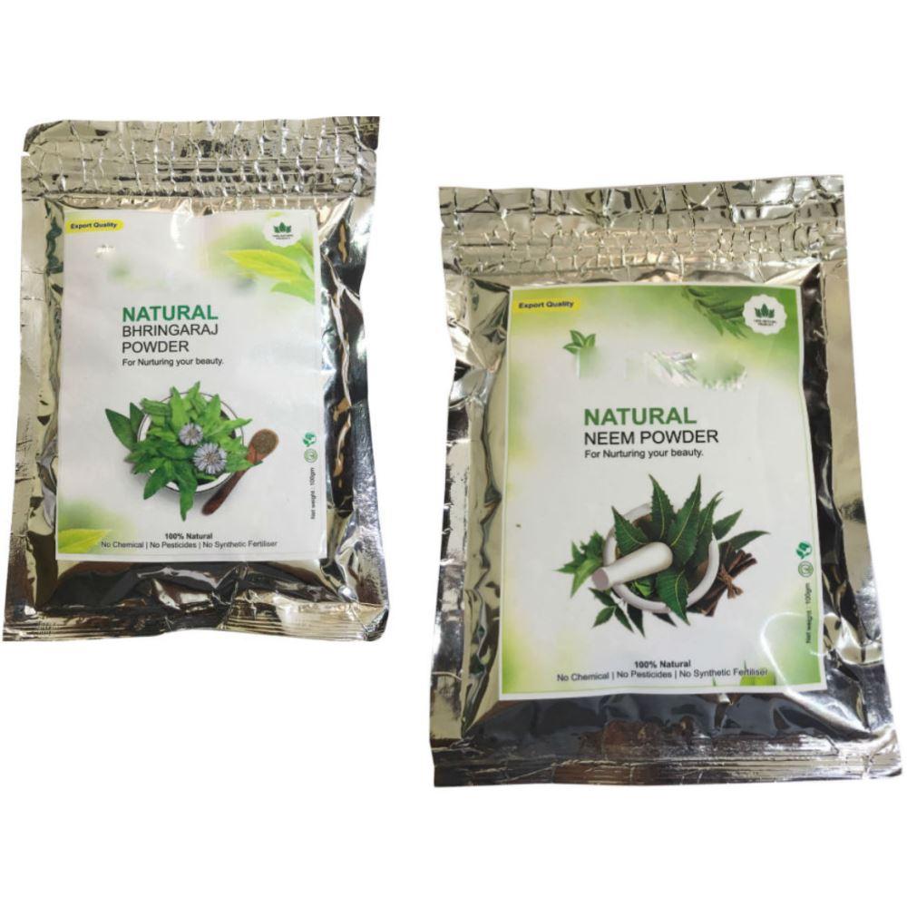 Indirang Bhringraj Powder(100G) & Neem Powder(100G) Combo Pack (1Pack)