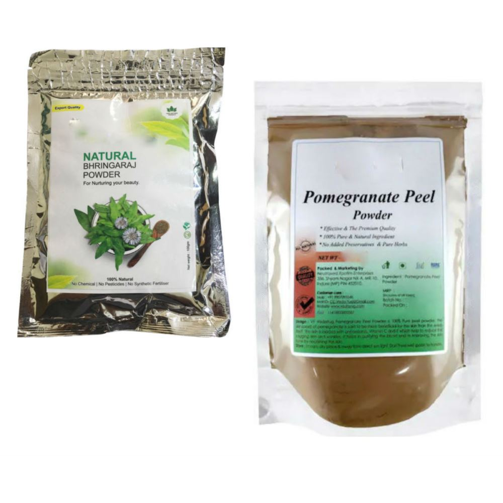 Indirang Bhringraj Powder(100G) & Pomegranate Powder(100G) Combo Pack (1Pack)