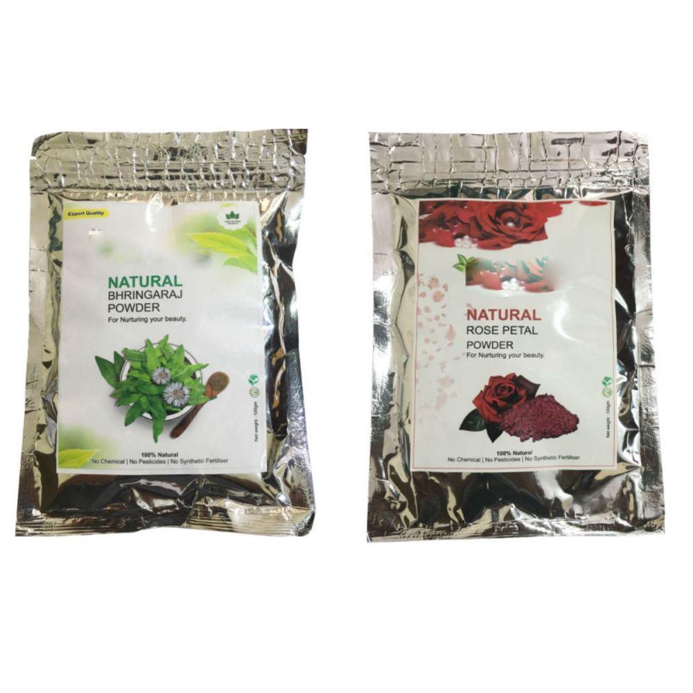 Indirang Bhringraj Powder(100G) & Rose Powder(100G) Combo Pack (1Pack)
