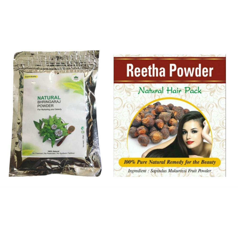 Indirang Bhringraj Powder(100G) & Reetha Powder(100G) Combo Pack (1Pack)