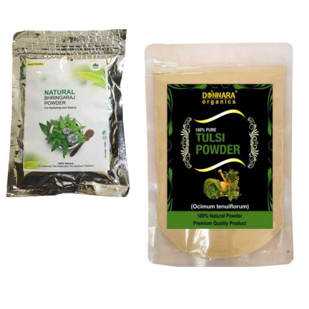 Indirang Bhringraj Powder(100G) & Tulsi Powder(100G) Combo Pack (1Pack)