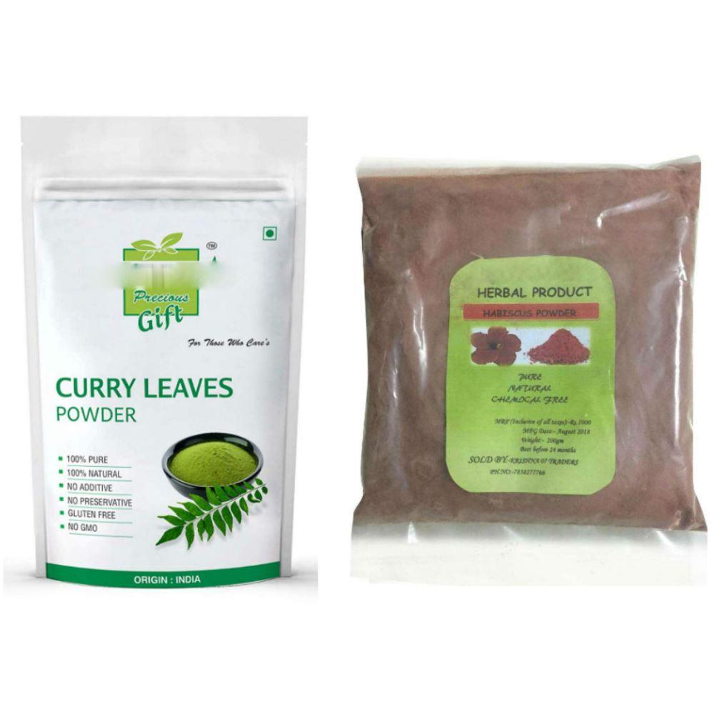 Indirang Curry Leaf Powder(100G) Powder & Hibiscus Powder(100G) Combo Pack (1Pack)