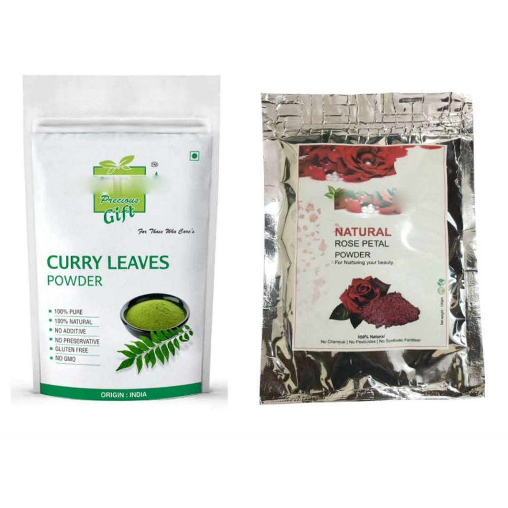 Indirang Curry Leaf Powder(100G) Powder & Rose Powder(100G) Combo Pack (1Pack)