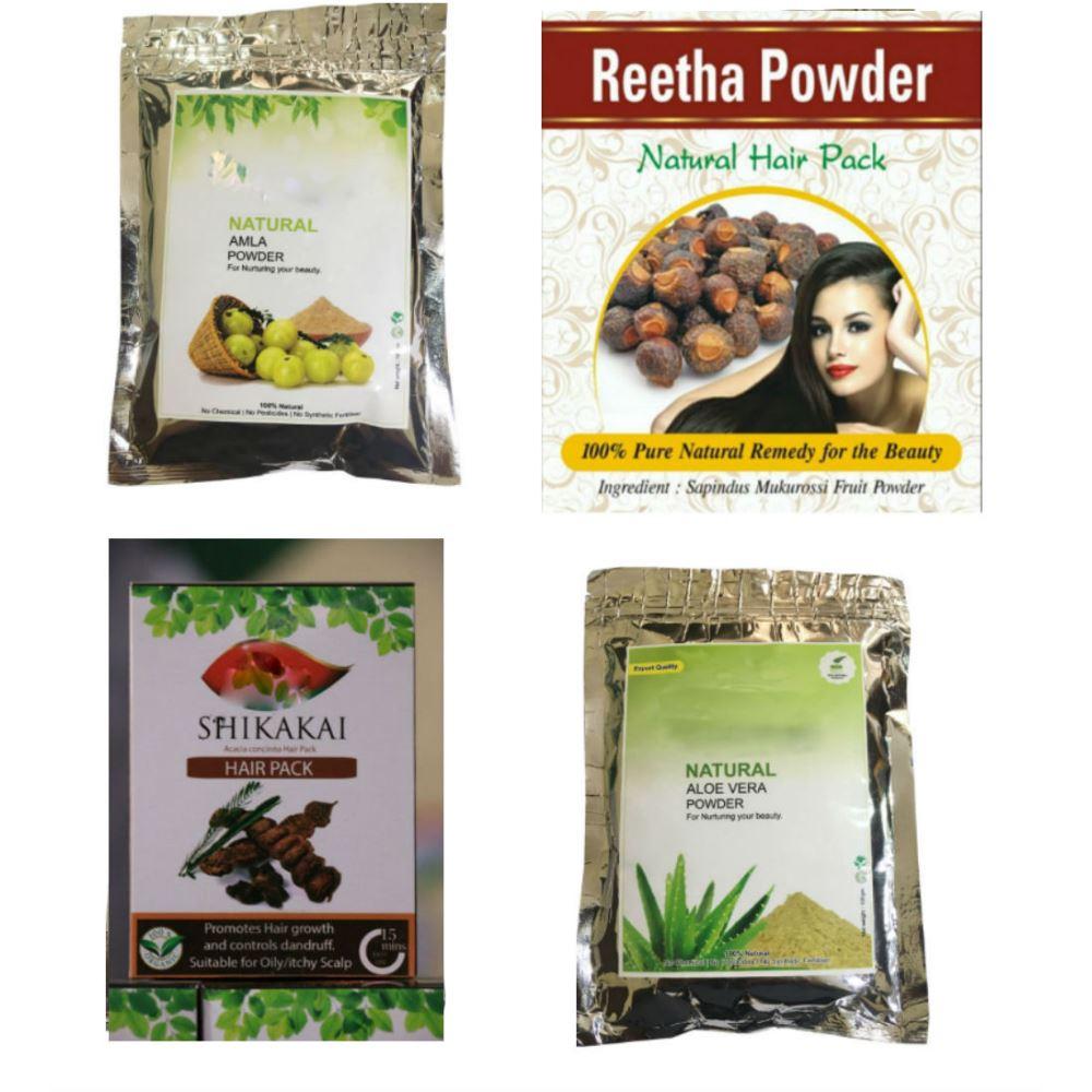 Indirang Amla Powder (100Gms) & Reetha Powder (100Gms) & Shikakai Powder (100Gms) & Aloe-Vera Powder (100Gms) Combo Pack (1Pack)