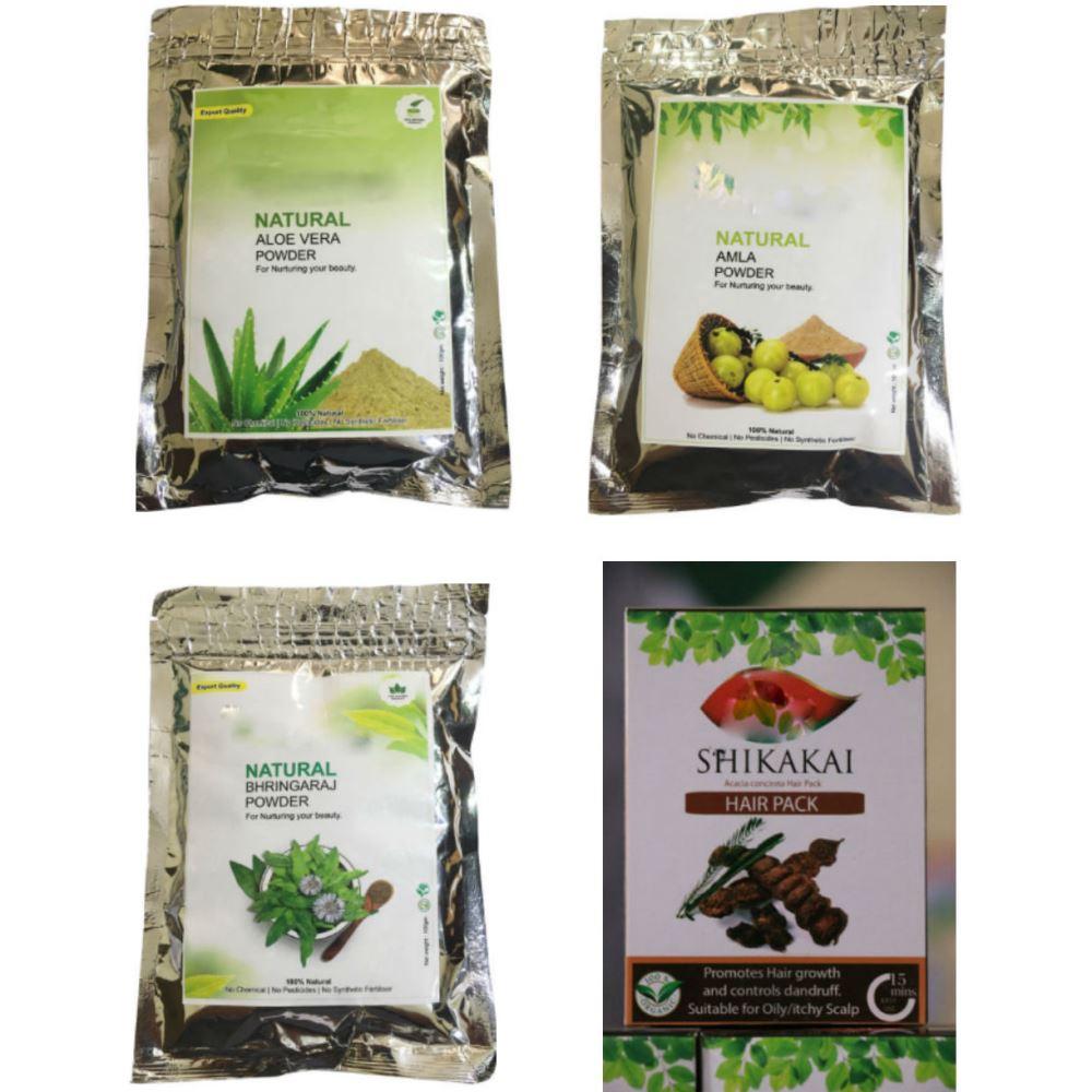 Indirang Amla Powder (100Gms) & Bhringraj Powder (100Gms) & Shikakai Powder (100Gms) & Aloe-Vera Powder (100Gms) Combo Pack (1Pack)
