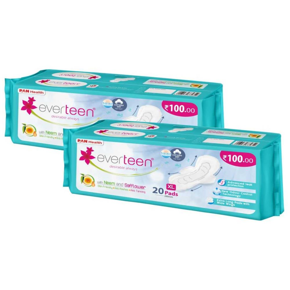 Everteen Cottony-Dry XL Sanitary Napkin Pads 280mm {Enriched With Neem And Safflower} (20pcs, Pack of 2)