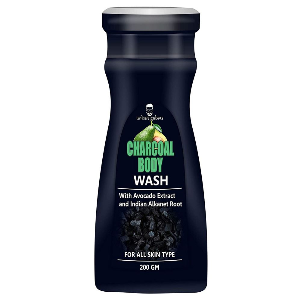 Urban Gabru Charcoal Body Wash With Avocado & Indian Alkanet Root - Activated Charcoal Shower Gel (200g)