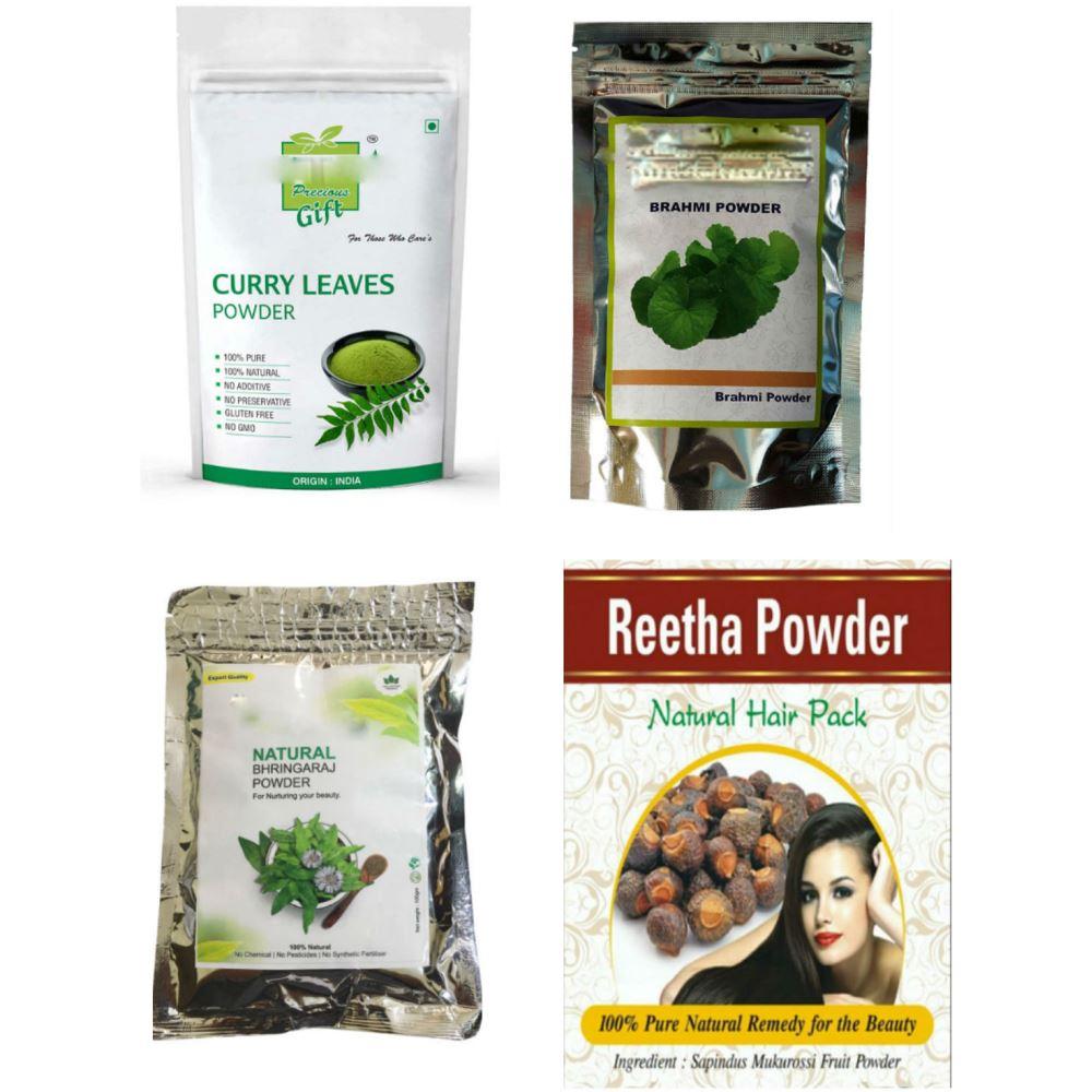 Indirang Bhringraj Powder(100G)& Brahmi Powder(100G) &Curry-Leaf Powder(100G) &Reetha Powder(100G) Combo Pack (1Pack)