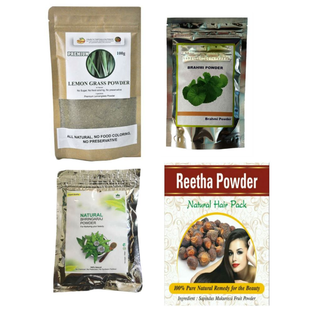 Indirang Bhringraj Powder(100G) &Brahmi Powder(100G)& Lemongrass Powder(100G) &Reetha Powder(100G) Combo Pack (1Pack)