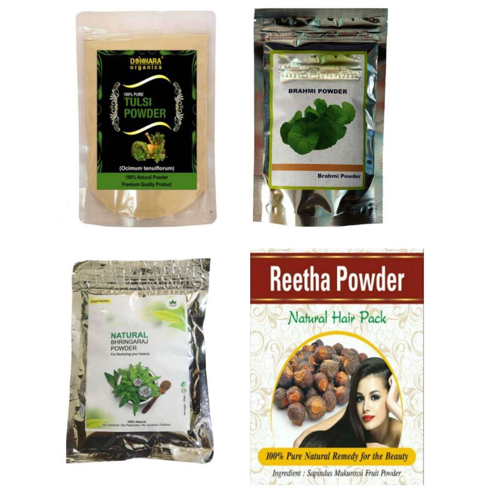 Indirang Bhringraj Powder(100G)& Brahmi Powder(100G) &Tulsi Powder(100G) &Reetha Powder(100G) Combo Pack (1Pack)