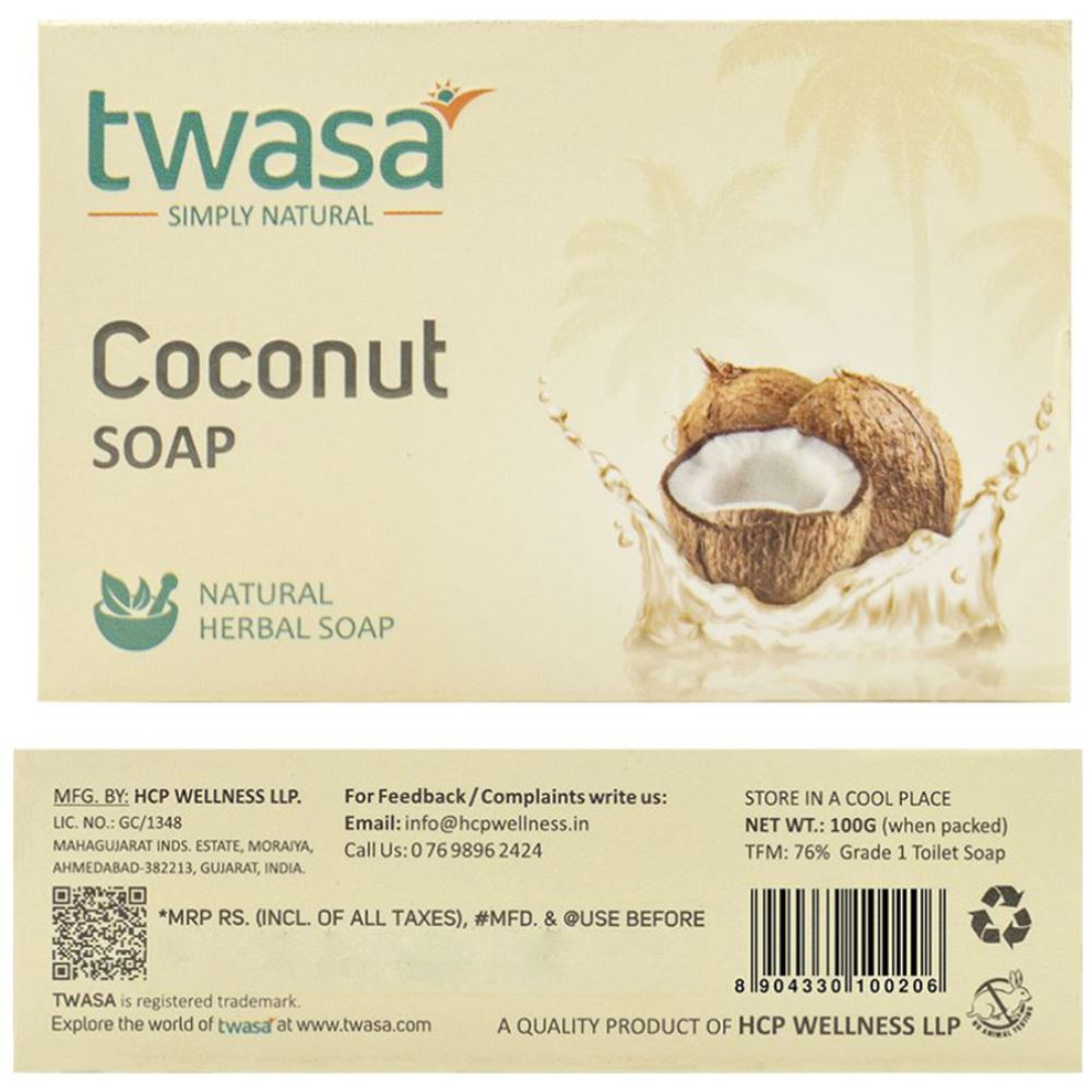 Twasa Coconut Oil Bath Soap (100g, Pack of 3)