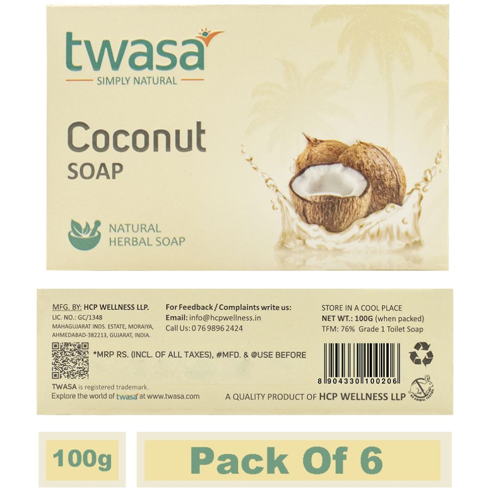 Twasa Coconut Oil Bath Soap (100g, Pack of 6)