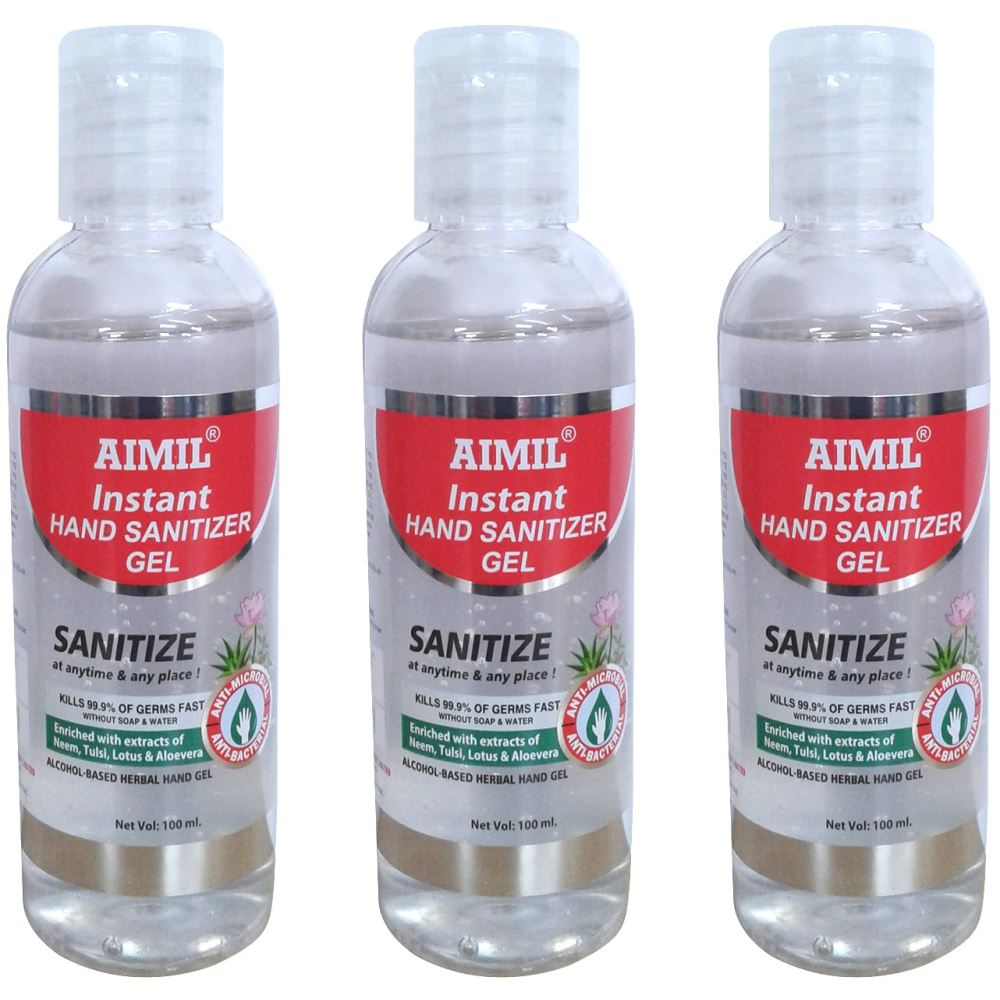 Aimil Instant Hand Sanitizer(Alcohol Based) (100ml, Pack of 3)