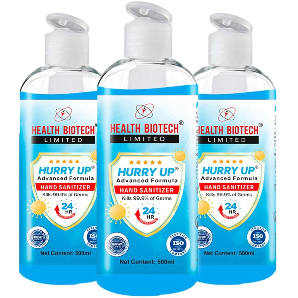 Health Biotech Hurry up Advanced Hand Sanitizer (500ml, Pack of 3)