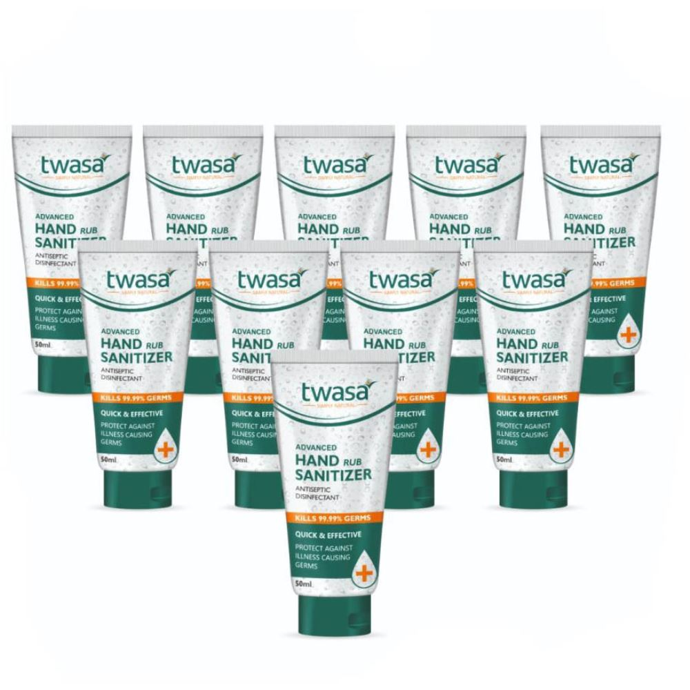 Twasa Advanced Hand Rub Sanitizer (50ml, Pack of 10)