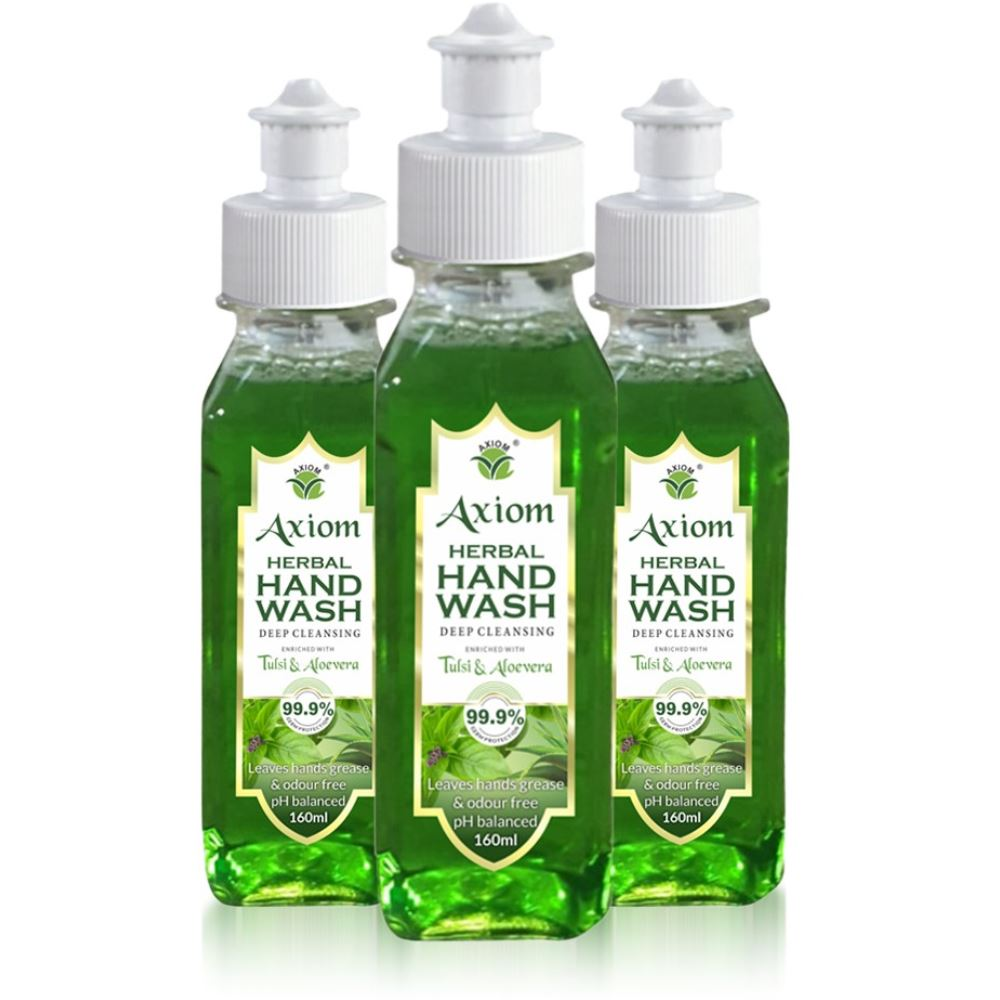 Axiom Herbal Hand Wash Enriched With Aloevera & Tulsi(Pull Push Pump) (160ml, Pack of 3)