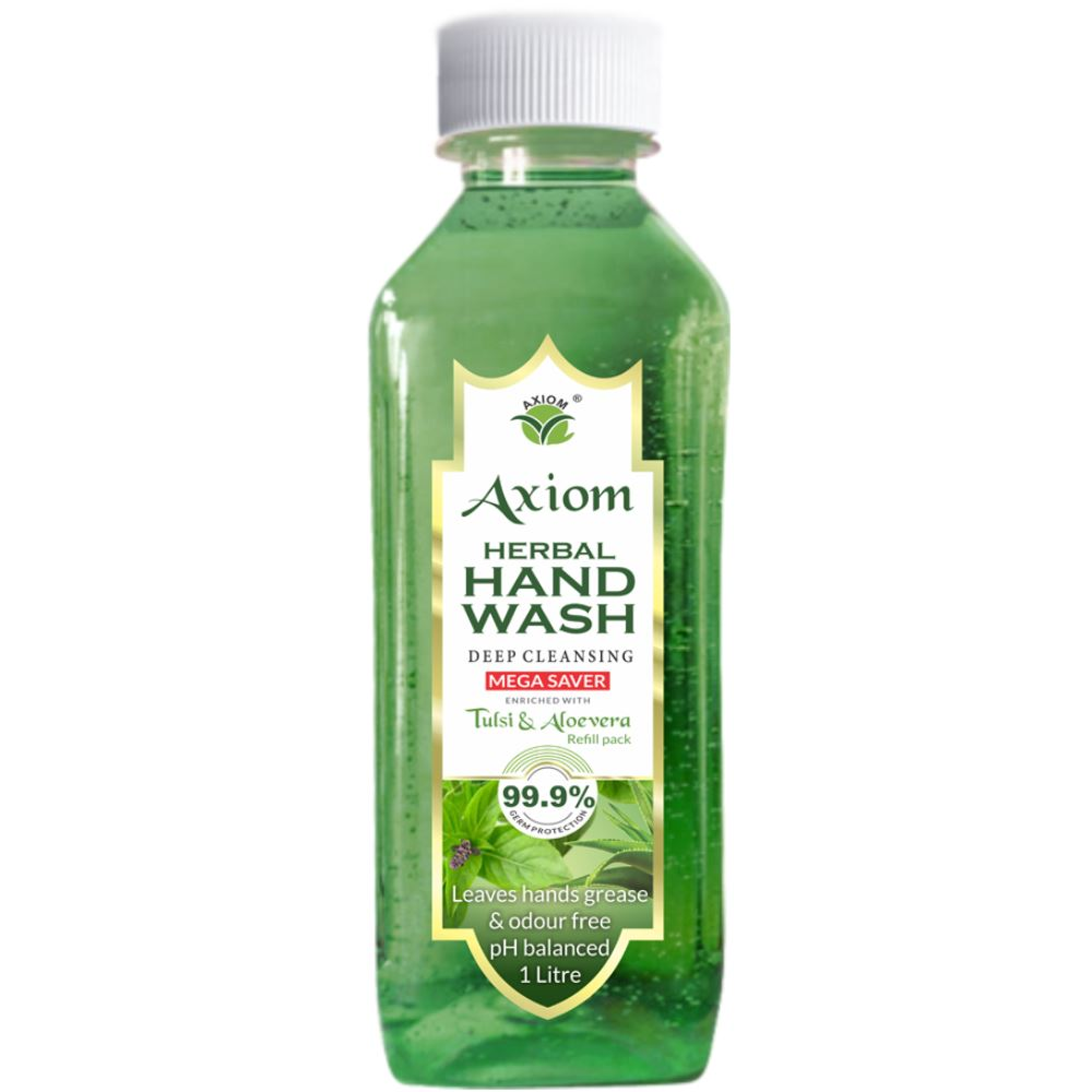Axiom Herbal Hand Wash Enriched With Aloevera & Tulsi(Refill Pack) (1000ml)