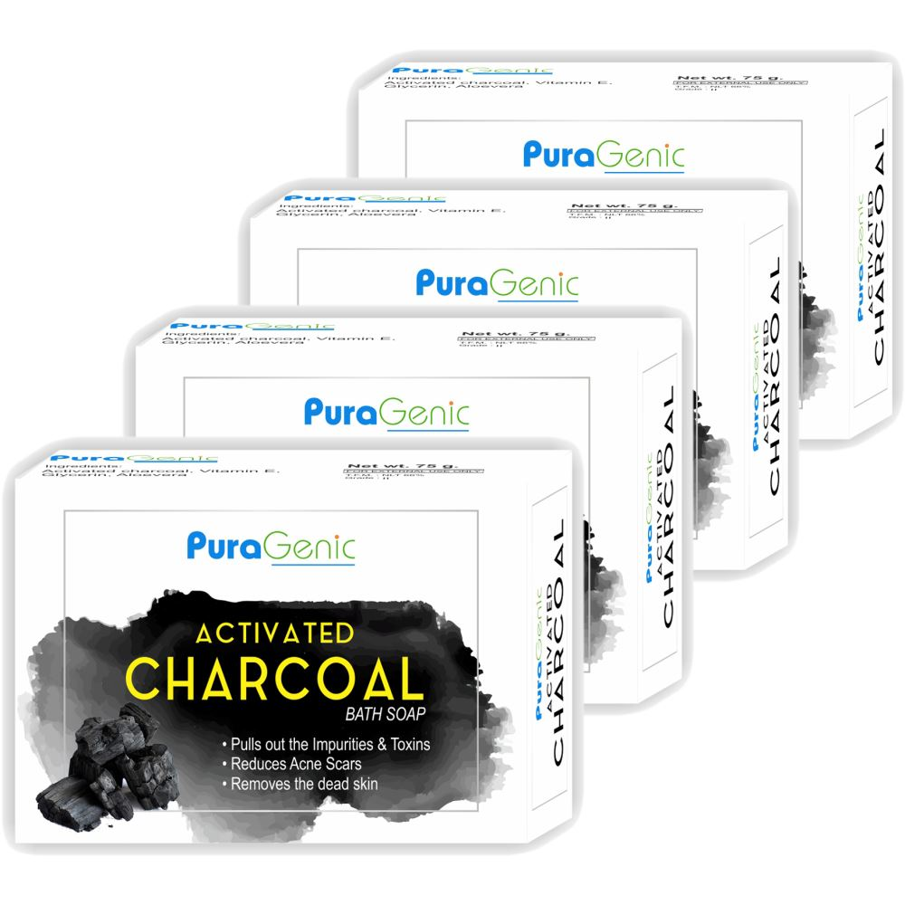 Puragenic Activated Charcoal Bath Soap (75g, Pack of 4)