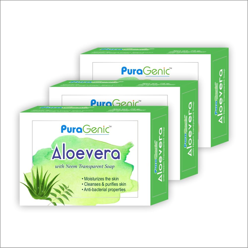 Puragenic Aloevera With Neem Transparent Soap (75g, Pack of 3)