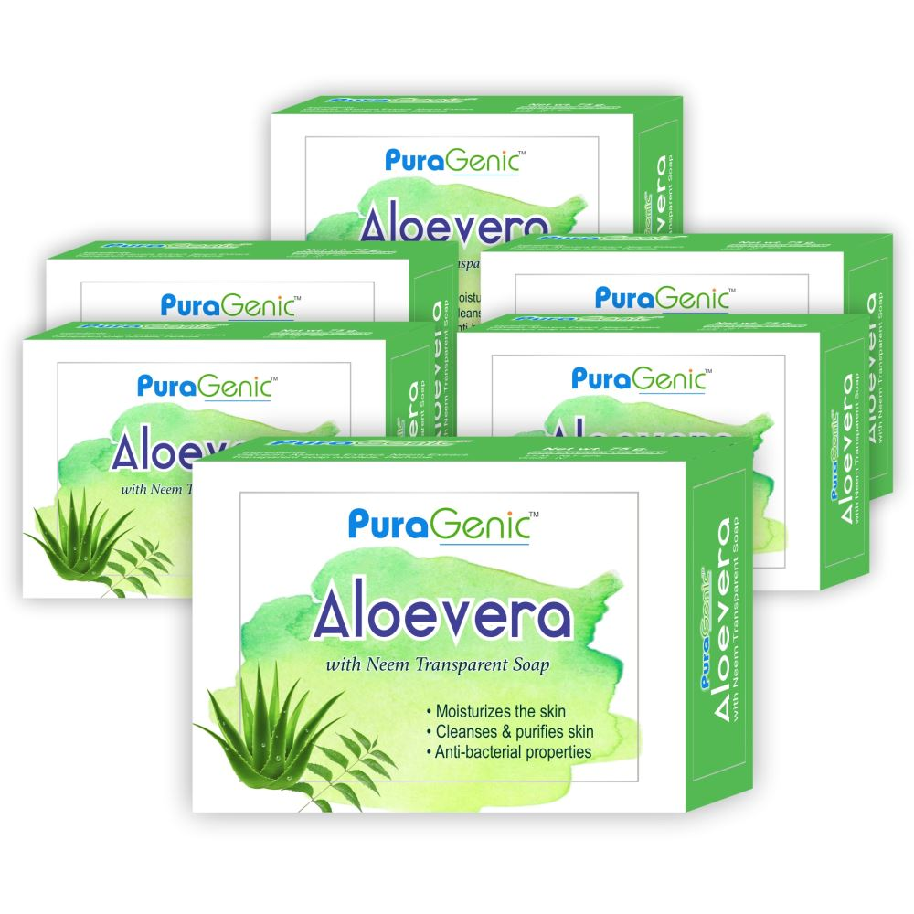 Puragenic Aloevera With Neem Transparent Soap (75g, Pack of 6)