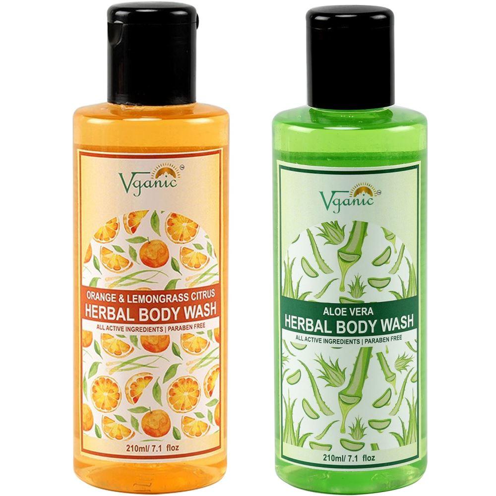 Vganic Aloe Vera Body Wash + Orange & Lemongrass Citrus Body Wash Combo Pack (1Pack)