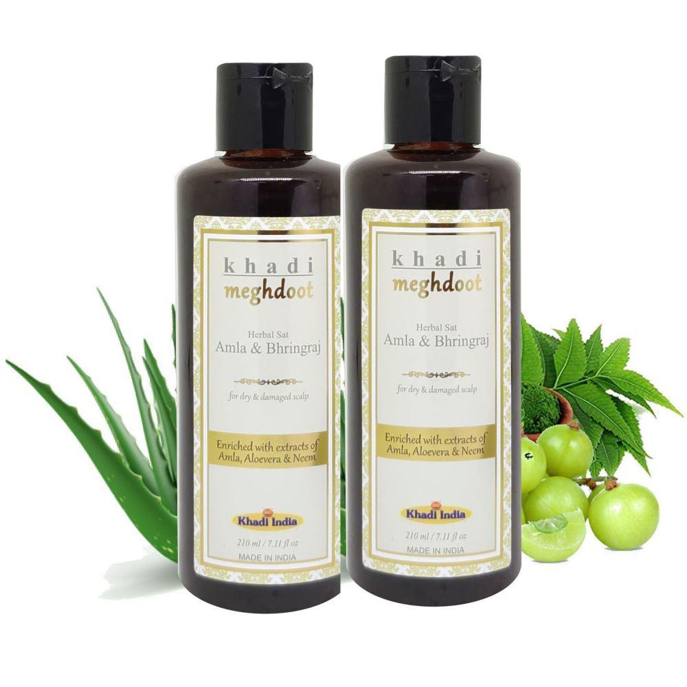 Khadi Meghdoot Amla & Bhringraj Herbal Shampoo (210ml, Pack of 2)