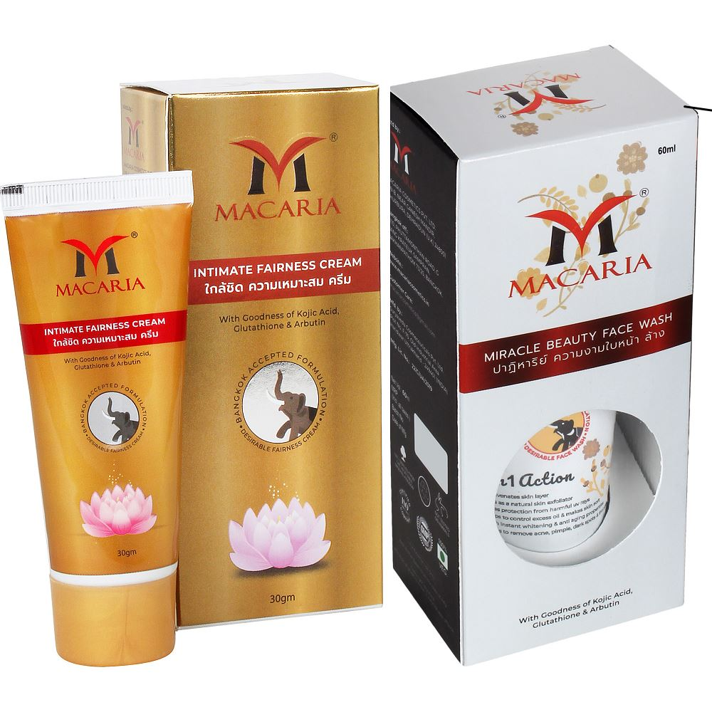 Macaria Intimate Fairness Cream With Miracle Beauty Face Wash Combo Pack {Full Body Skin Whitening Cream And Face Wash} (1Pack)