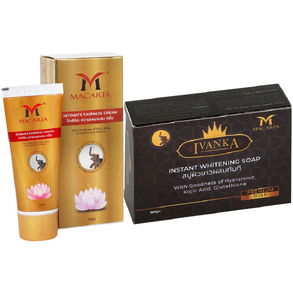 Macaria Intimate Fairness Cream + Ivanka Instant Whitening Soap Combo Pack {Bb Foundation Cream With Skin Whitening Soap} (1Pack)