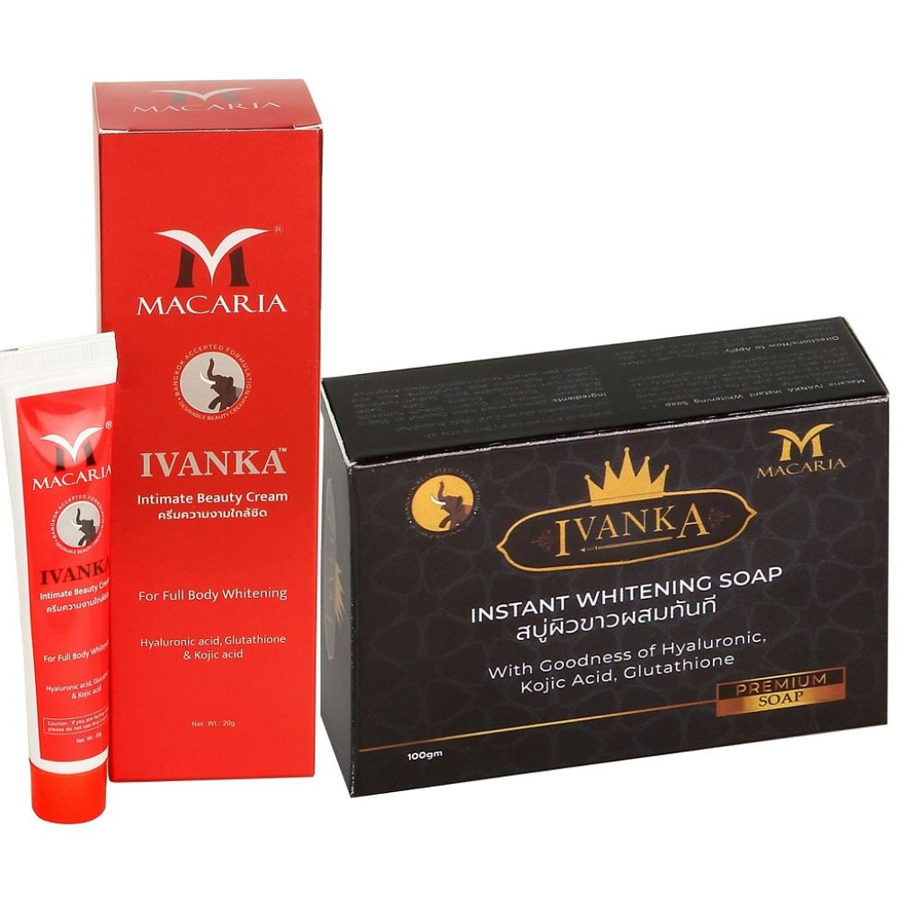 Macaria Ivanka Intimate Beauty Cream With Ivanka Instant Whitening Soap Combo Pack {Instant Fairness Cream And Soap For Men And Women} (1Pack)