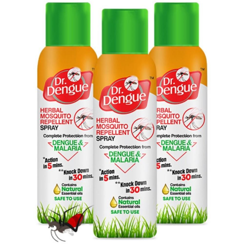 Dr. Dengue Herbal Mosquito Repellent Spray (50g, Pack of 3)