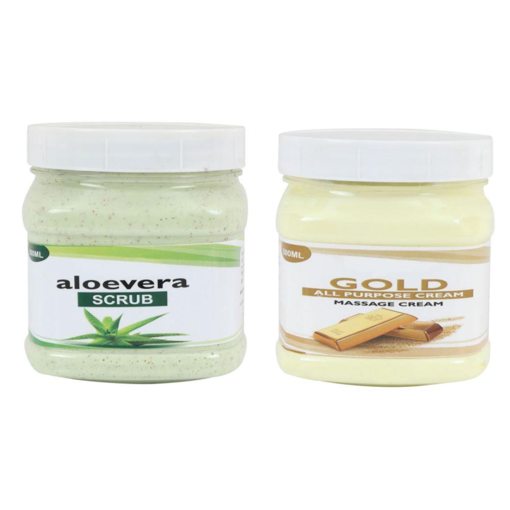 Indirang Aloevera Scrub & Gold Cream Combo Pack (1Pack)