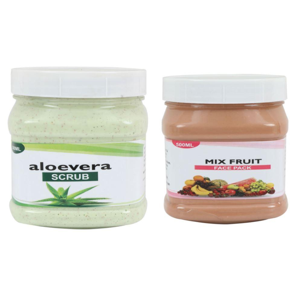Indirang Aloevera Scrub & Fruit Face Pack Combo Pack (1Pack)