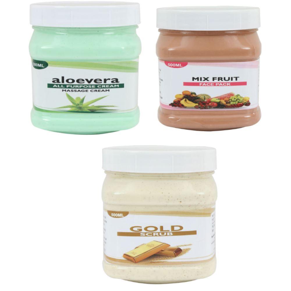 Indirang Aloevera Cream, Fruit Face Pack & Gold Scrub Combo Pack (1Pack)