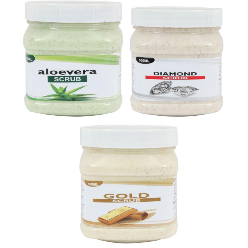 Indirang Aloevera Scrub, Diamond Scrub, Gold Scrub Combo Pack (1Pack)