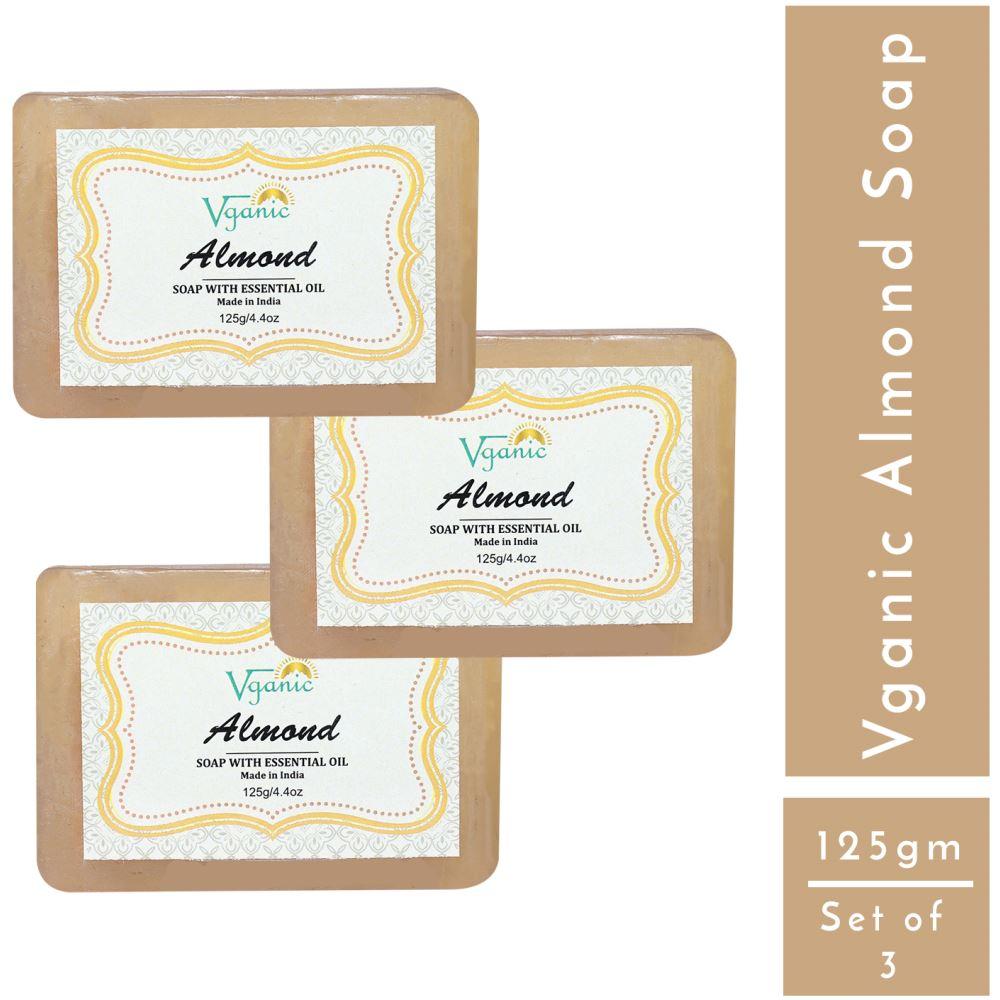 Vganic Almond Soap (125g, Pack of 3)