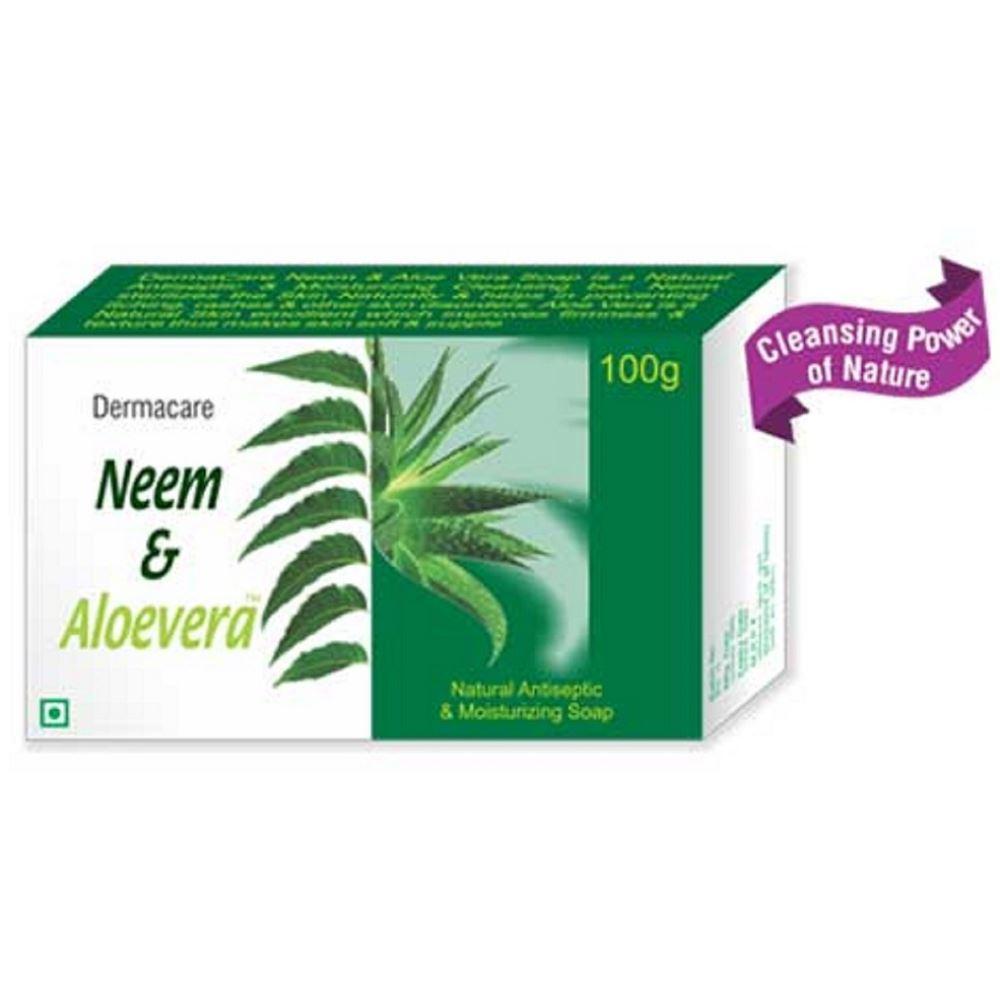 Psychotropics India Dermacare Neem & Aloevera Natural Antiseptic & Moisturizing Soap (100g, Pack of 5)