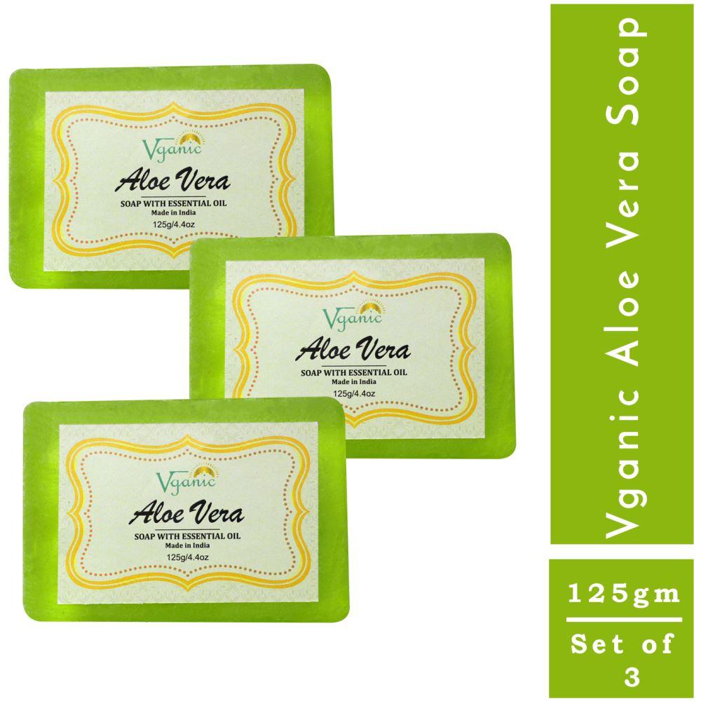 Vganic Aloe Vera Soap (125g, Pack of 3)