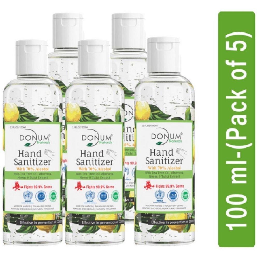 Donum Naturals Alcohol Based Hand Sanitizer Gel (100ml, Pack of 5)