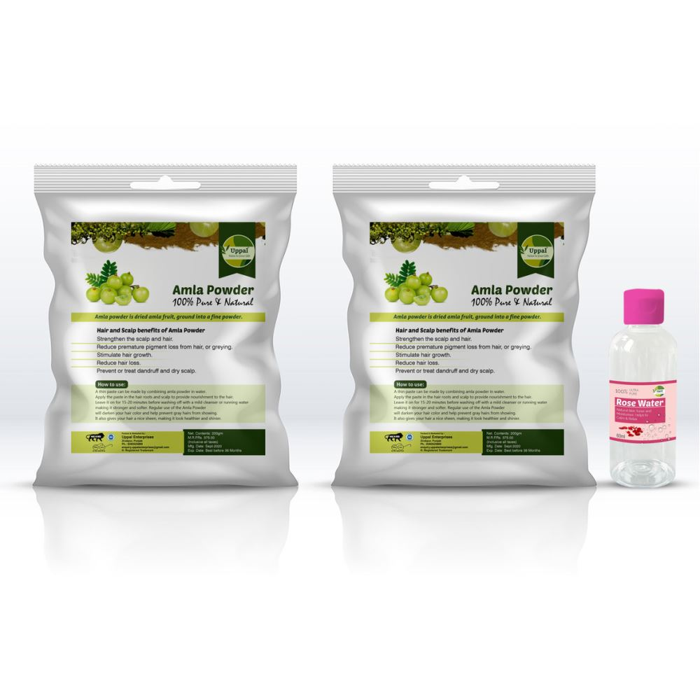 Uppal Natural Amla Powder Free Rose Water (200g, Pack of 2)