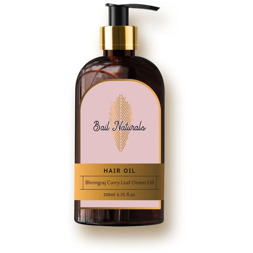 Bail Naturals Bhringraj Curry Leaf Onion Hair Oil For Hair Loss And Scalp Problem (200ml)