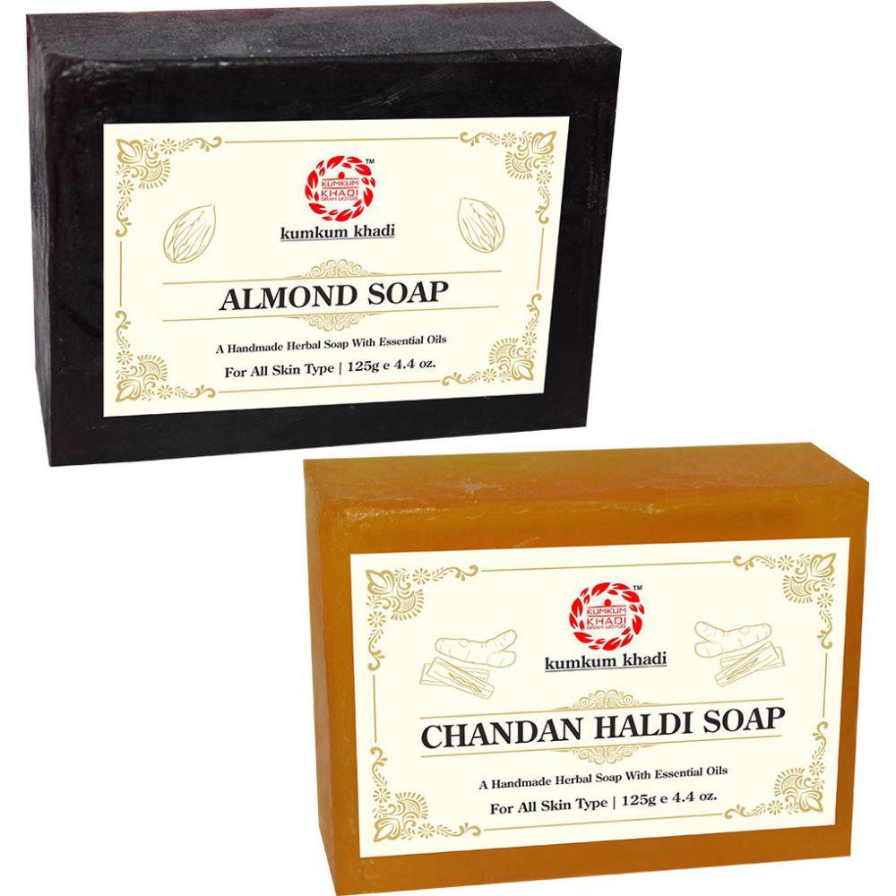 Kumkum Khadi Herbal Almond And Chandan Haldi Soap (1Pack)
