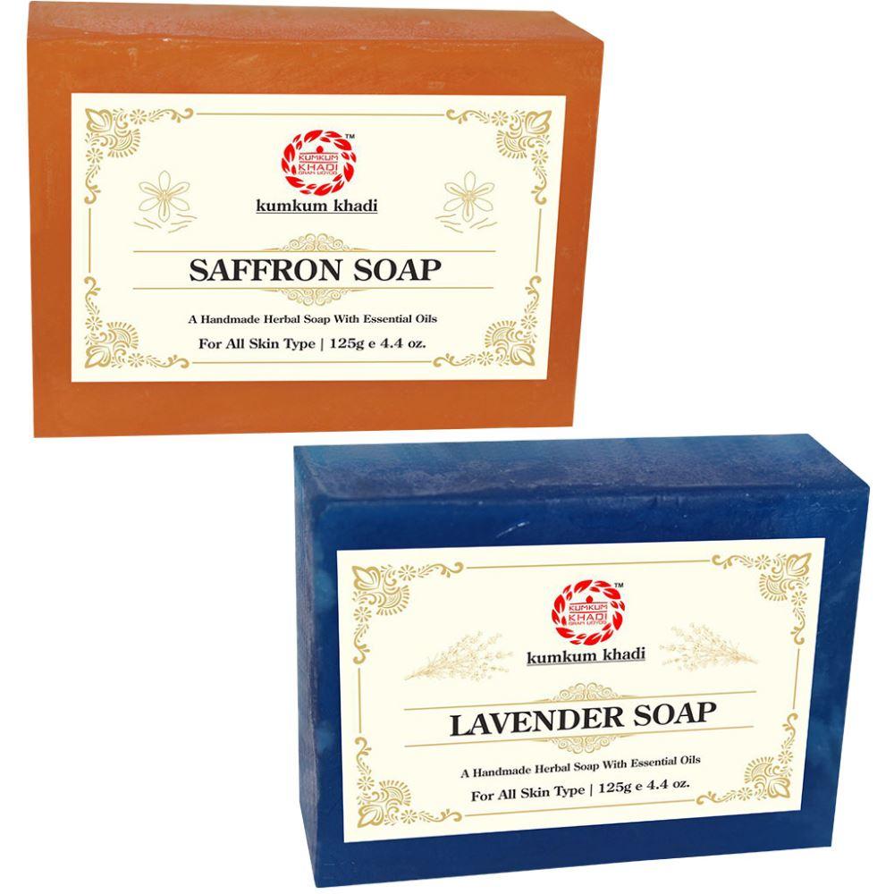 Kumkum Khadi Herbal Saffron And Lavender Soap (1Pack)