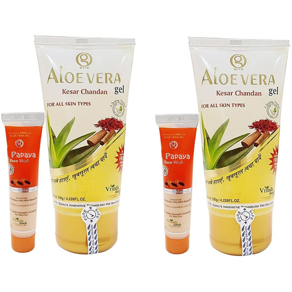 Vrinda Aloevera Gel With Kesar Chandan (150g, Pack of 2)