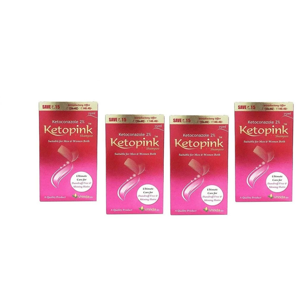 Vrinda Ketopink Hair Shampoo (300ml, Pack of 4)